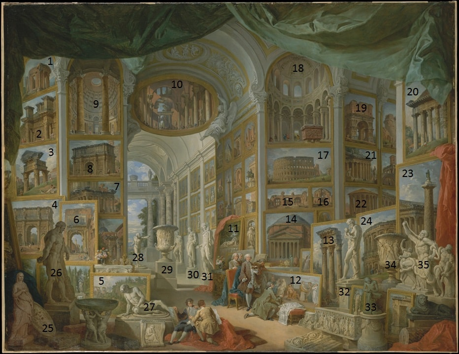 Annotated version of Ancient Rome by Giovanni Paolo Panini in the Metropolitan Museum of Art in New York