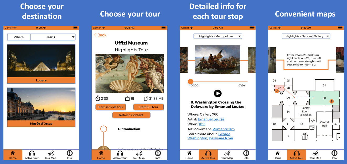 The Amuze Museum Audio Tours app provides professional audio tours for art museums around the world.