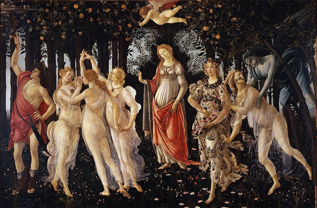 La Primavera by Sandro Botticelli in the Uffizi Museum in Florence
