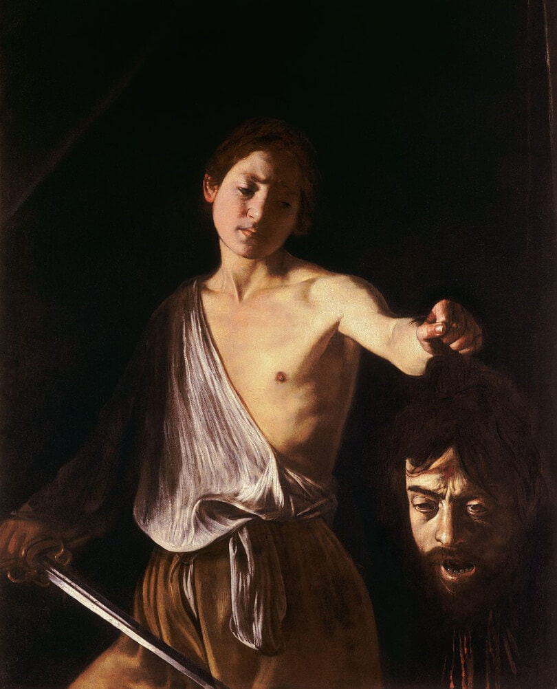 David with the Head of Goliath by Caravaggio in the Galleria Borghese in Rome