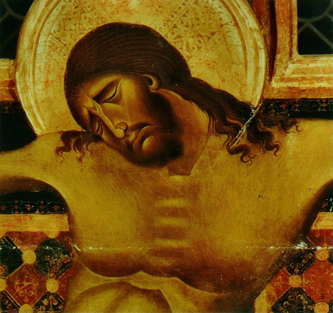 Detail of Jesus' face in Crucifix by Cimabue
