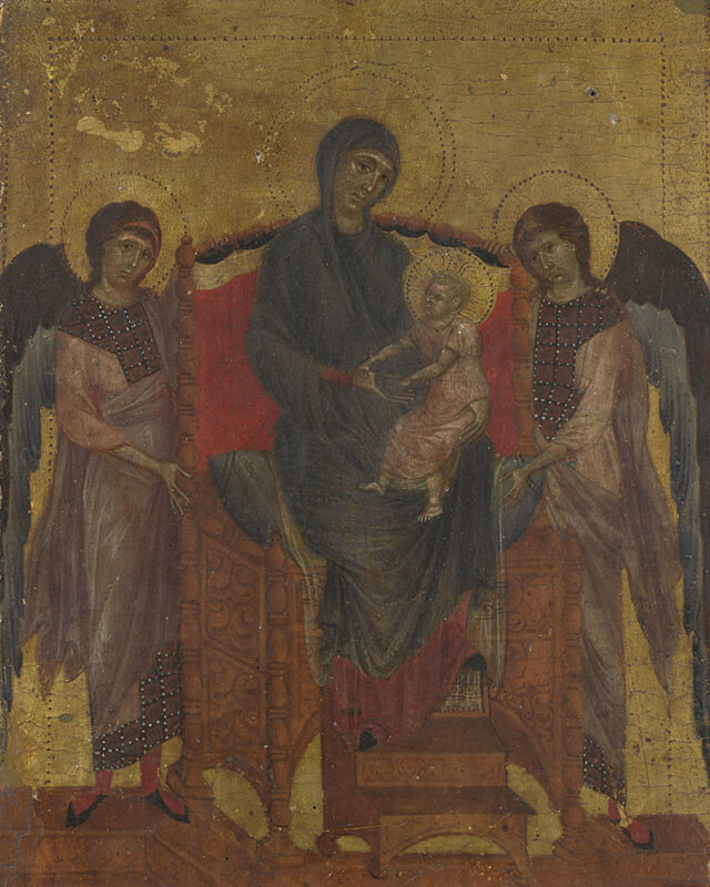 The Virgin and Child with Two Angels by Cimabue in the National Gallery in London