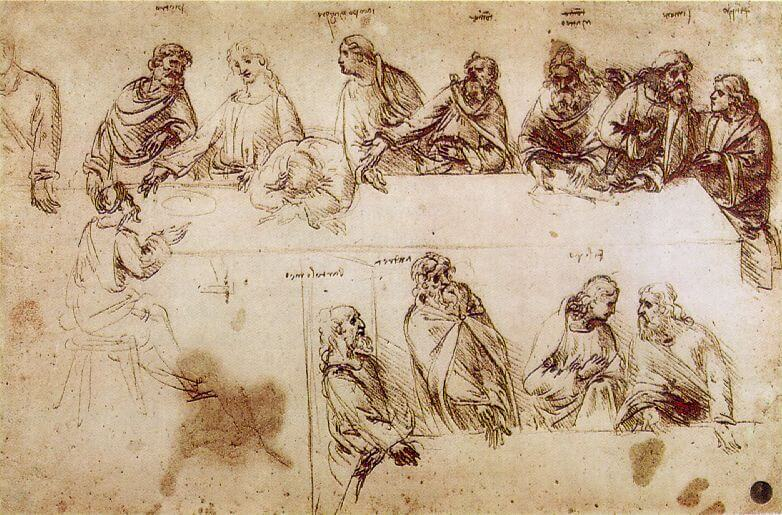 Preparatory Sketch by Leonardo da Vinci for The Last Supper