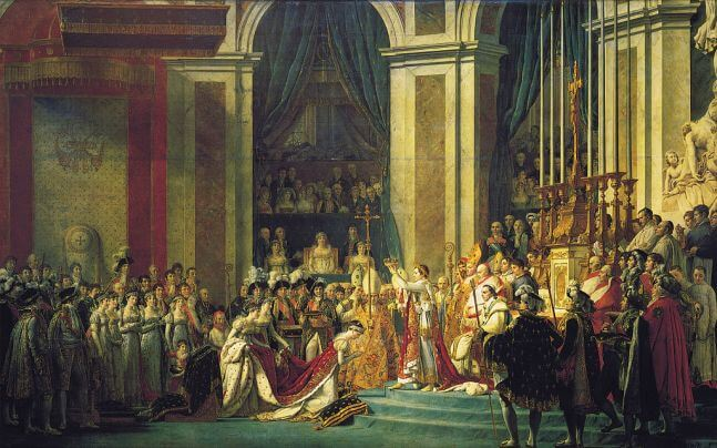 The Coronation of Napoleon by Jacques-Louis David in the Louvre in Paris