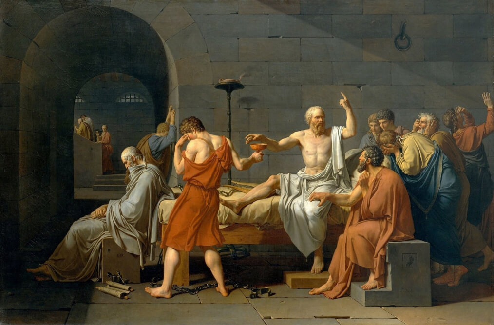 The Death of Socrates by Jacques-Louis David in the Metropolitan Museum of Art in New York