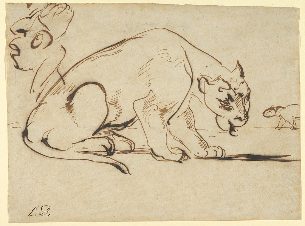 A Lioness and a Caricature of Ingres by Eugene Delacroix