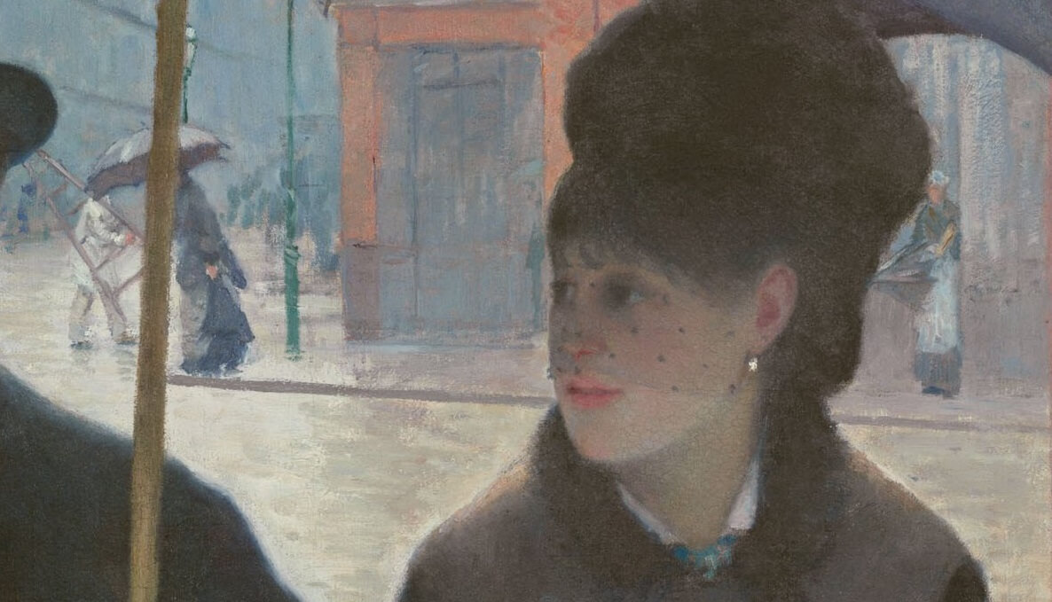 Detail from Paris Street; Rainy Day by Gustave Caillebotte
