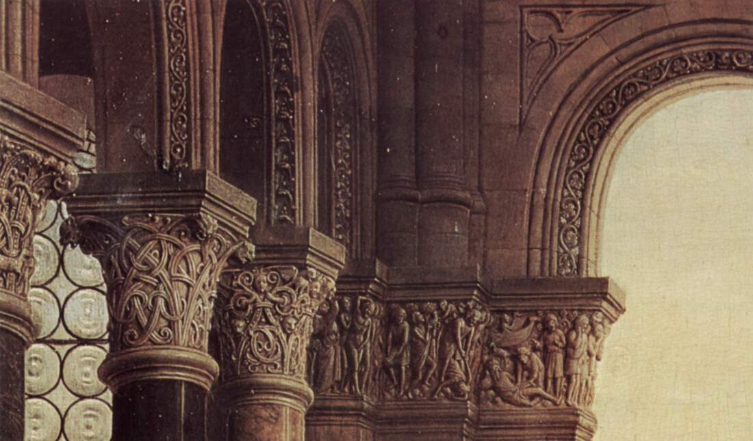 Detail of the sculpted capitals in the Madonna of Chancellor Rolin by Jan van Eyck