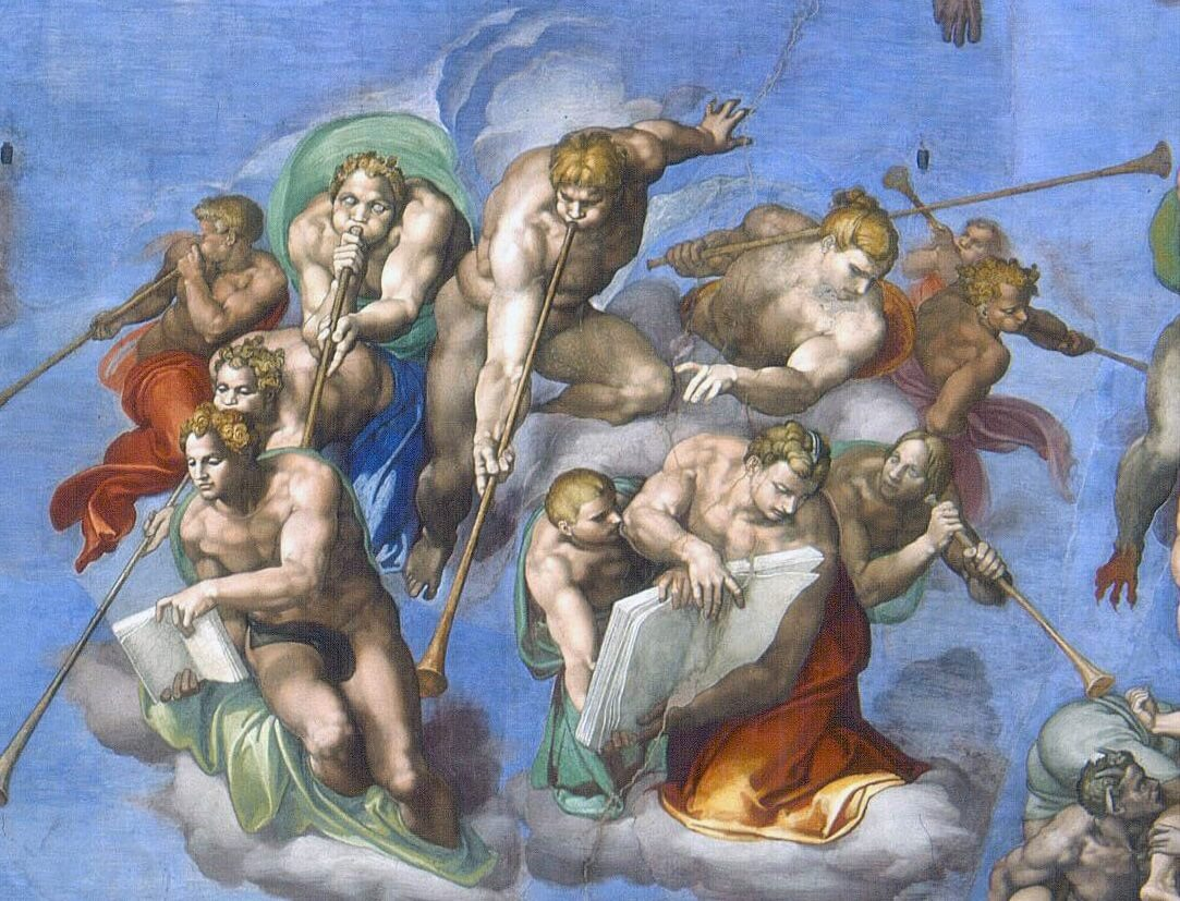 Detail of wingless angels in The Last Judgment by Michelangelo in the Vatican Museums in Rome