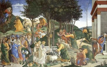 Youth of Moses by Sandro Botticelli in the Sistine Chapel in the Vatican Museums in Rome