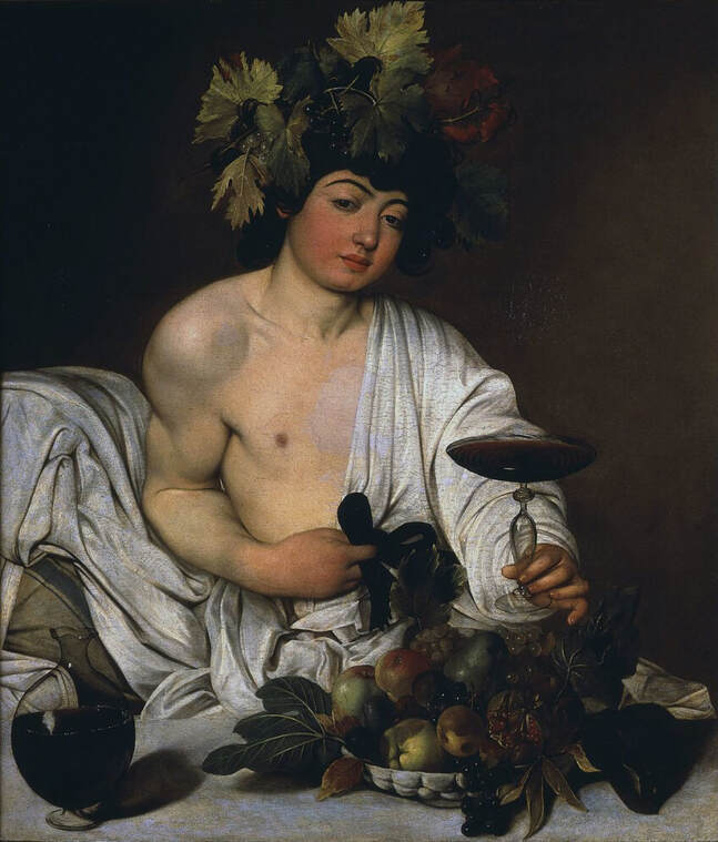 Bacchus by Caravaggio in the Uffizi Gallery in Florence