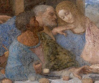 Detail of Judas, Peter, and John in The Last Supper by Leonardo da Vinci