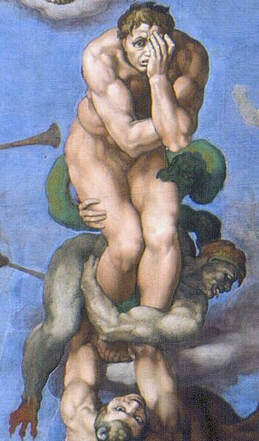 Detail of the Damned Man in The Last Judgment by Michelangelo in the Vatican Museums in Rome