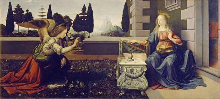 The Annunciation by Leonardo da Vinci and Andrea del Verrocchio in the Uffizi Museum in Florence