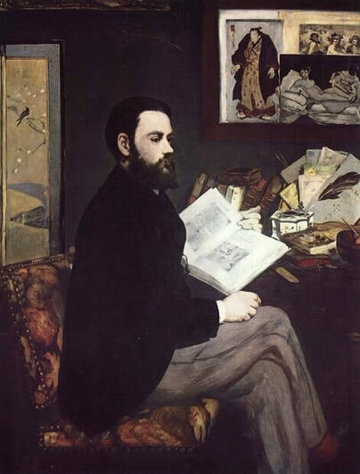 Portrait of Emile Zola by Edouard Manet in the Musee d'Orsay in Paris