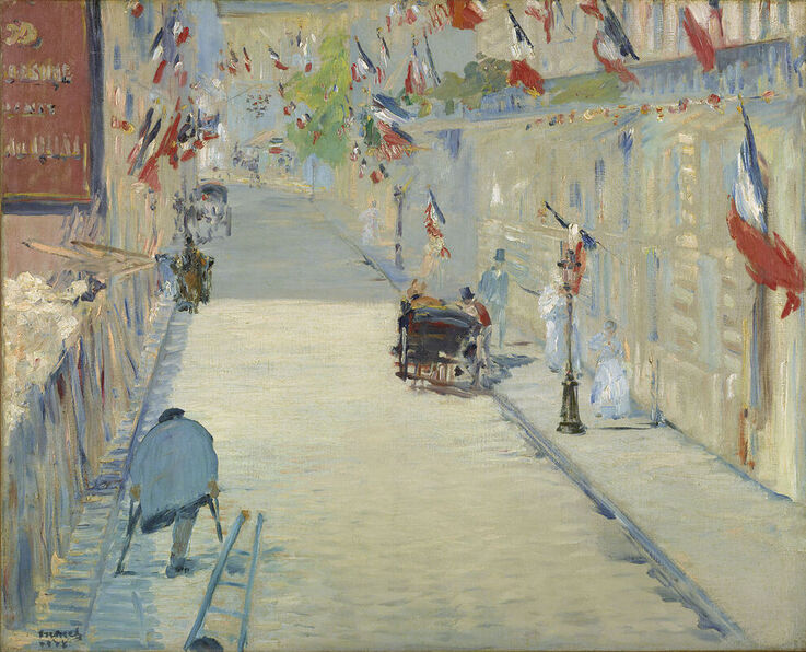The Rue Mosnier with Flags by Edouard Manet in the Getty Museum in Los Angeles