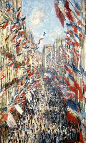 The Rue Montorgueil in Paris Celebration of 30 June 1878 by Claude Monet in the Musée d'Orsay