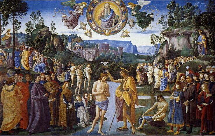Baptism of Christ by Perugino in the Sistine Chapel in the Vatican Museums in Rome
