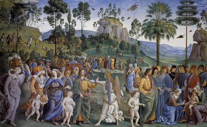 Moses Leaving for Egypt by Perugino in the Sistine Chapel in the Vatican Museums in Rome