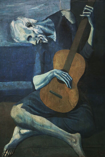 Old Guitarist by Pablo Picasso in the Art Institute of Chicago