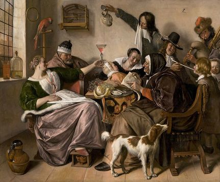 As the Old Sing, So Pipe the Young de Jan Steen dans le Mauritshuis à La Haye