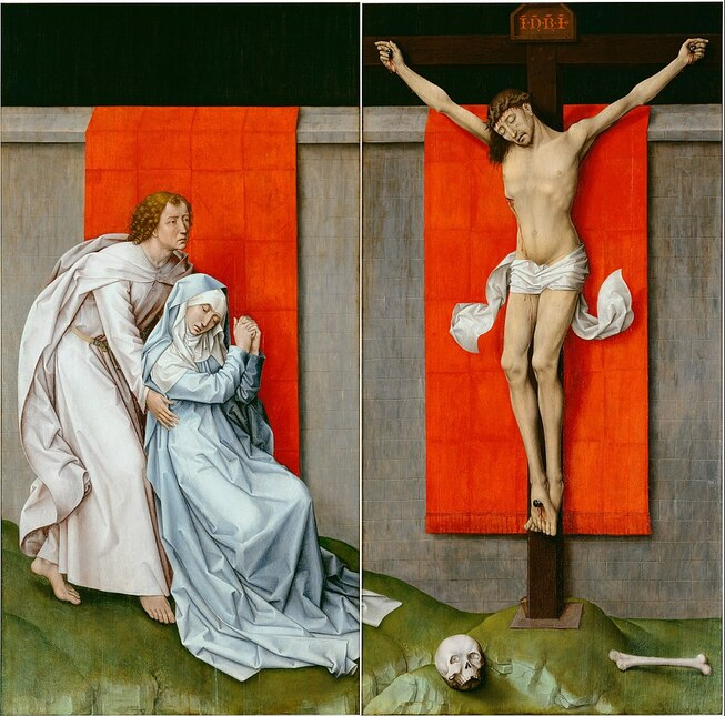 The Crucifixion, with the Virgin and Saint John the Evangelist Mourning by Rogier van der Weyden in the Philadelphia Museum of Art