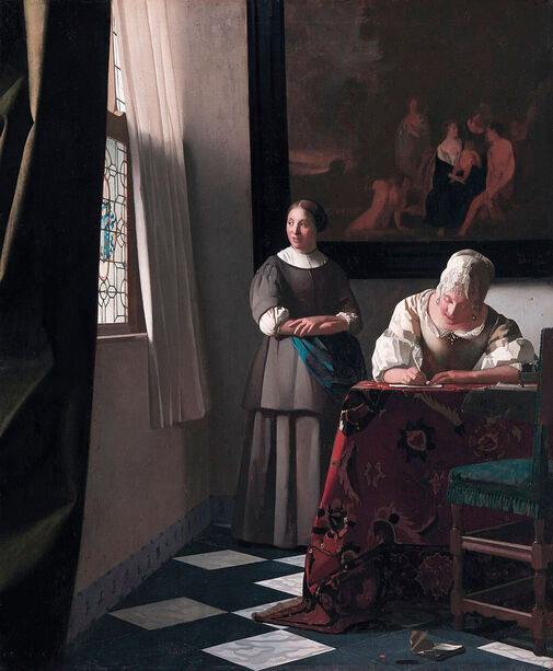 Lady Writing a Letter with Her Maid by Johannes Vermeer in the National Gallery of Ireland