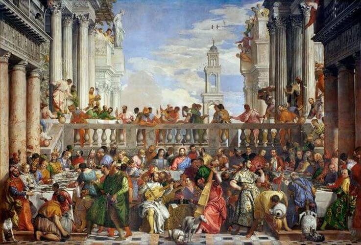 The Wedding at Cana by Paolo Veronese in the Louvre Museum in Paris