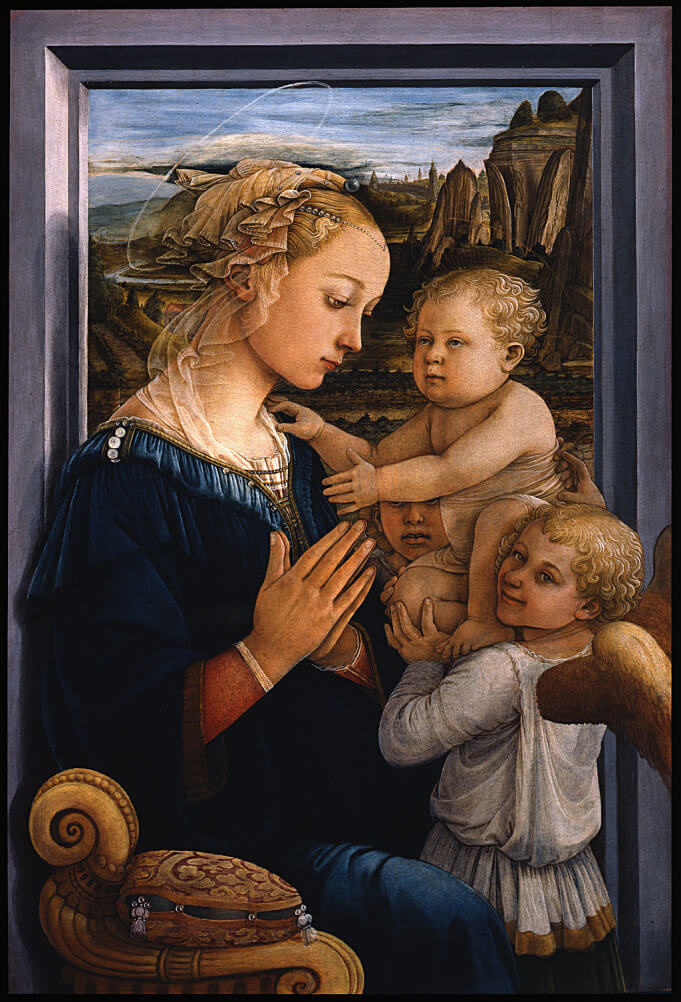 Madonna and Child with Two Angels by Filippo Lippi in the Uffizi Museum in Florence