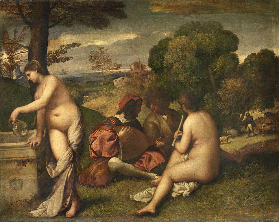 The Pastoral Concert by Giorgione and/or Titian in the Louvre Museum in Paris