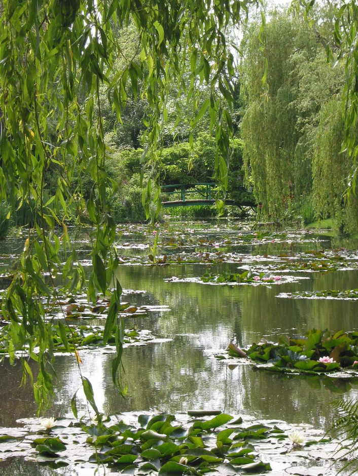 The water lily pond and Japanese bridge of Claude Monet in Giverny