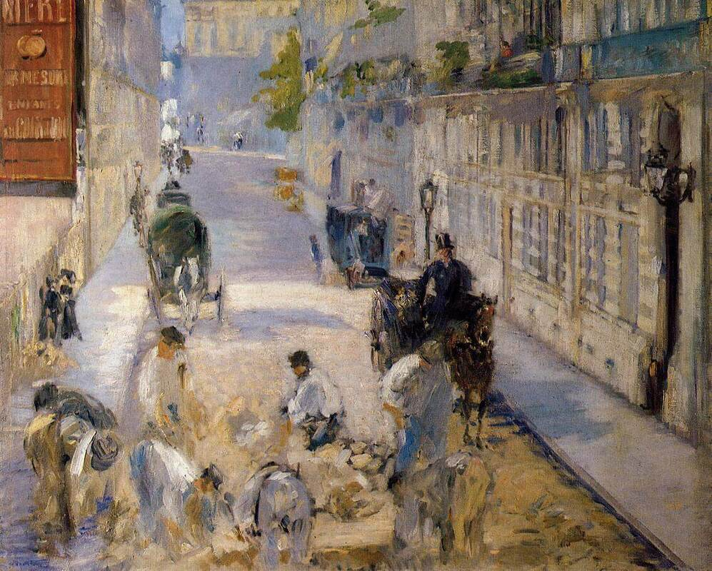 Rue Mosnier with Pavers by Edouard Manet