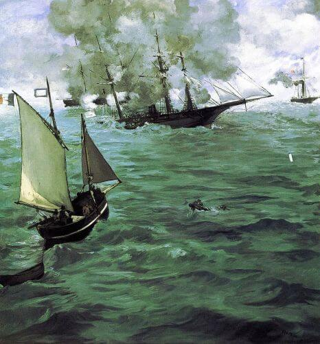 The Battle of the Kearsarge and the Alabama by Edouard Manet in the Philadelphia Museum of Art