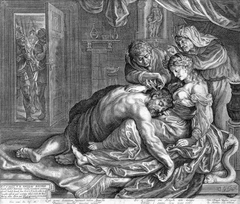 Engraving of Samson and Delilah after Peter Paul Rubens by Jacob Matham