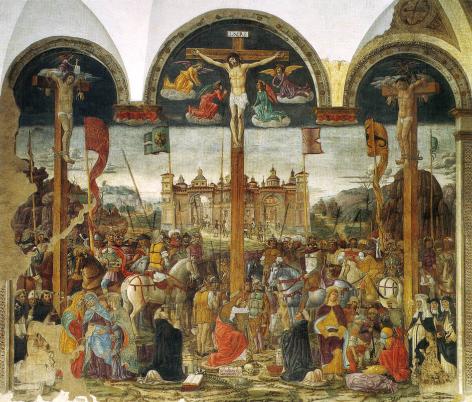 Crucifixion fresco by Giovanni Donato da Montorfano in the Santa Maria delle Grazie Dominican Church and Convent in Milan
