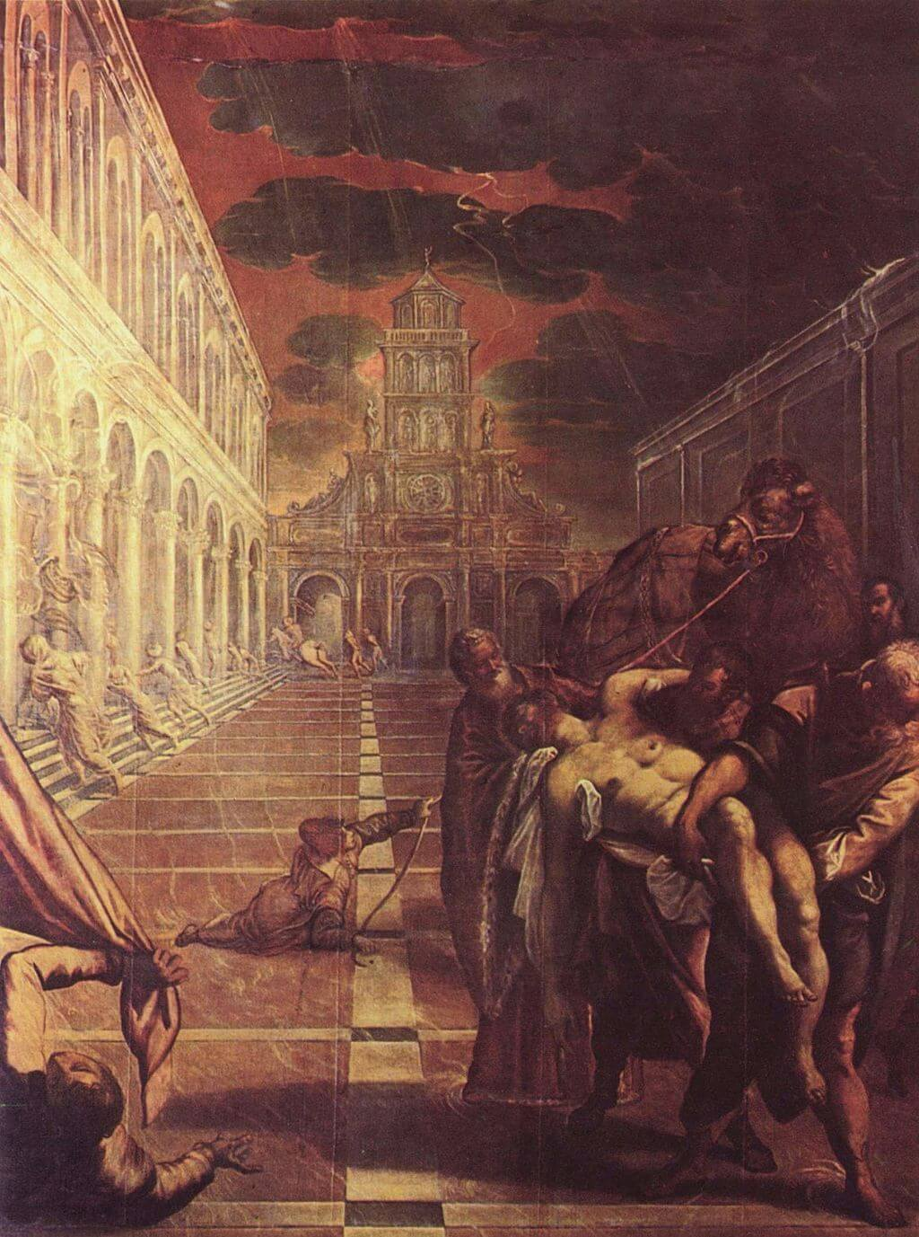 The Stealing of the Dead Body of St Mark by Jacopo Tintoretto before restoration