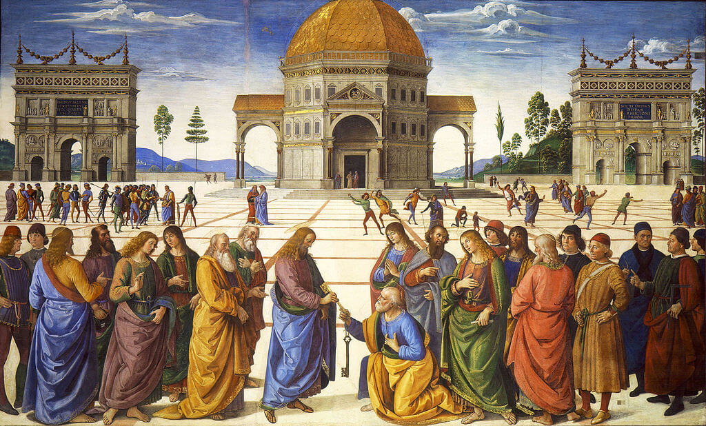 Delivery of the Keys by Perugino in the Sistine Chapel in the Vatican Museums in Rome