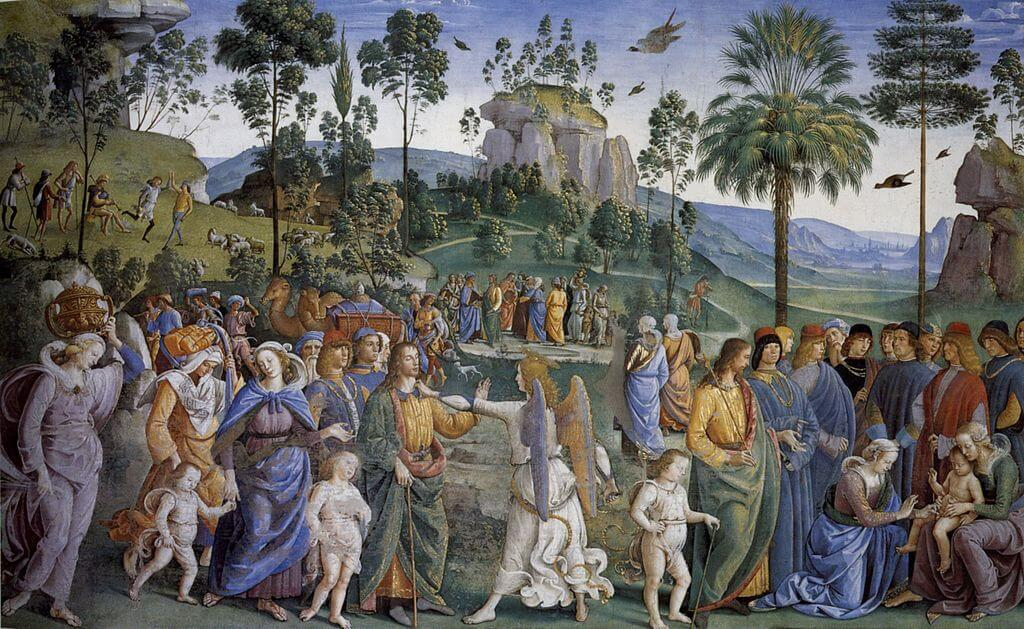 Moses Leaving to Egypt by Perugino in the Sistine Chapel in the Vatican Museums in Rome
