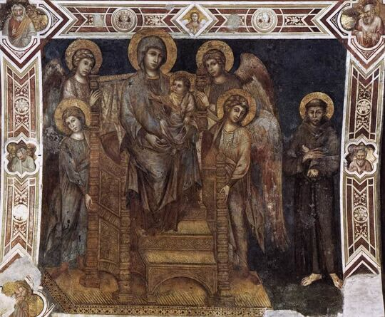 Madonna with Child Enthroned, Four Angels and St Francis by Cimabue in the Lower Basilica of San Francisco in Assisi