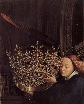 Detail of the crown in the Madonna of Chancellor Rolin by Jan van Eyck