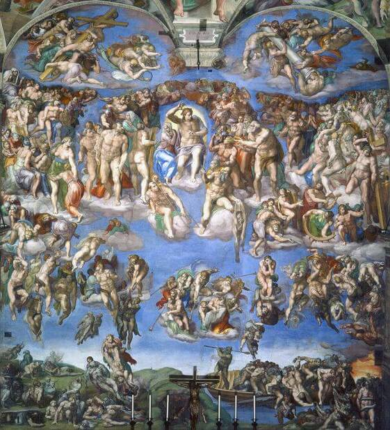 The Last Judgment by Michelangelo in the Sistine Chapel in the Vatican Museums in Rome