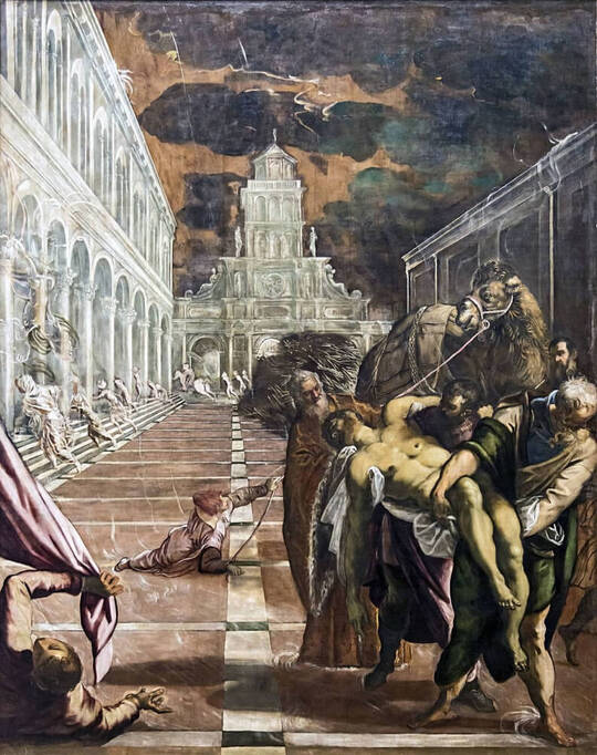 The Stealing of the Dead Body of St Mark by Jacopo Tintoretto in the Galleria dell'Accademia in Venice