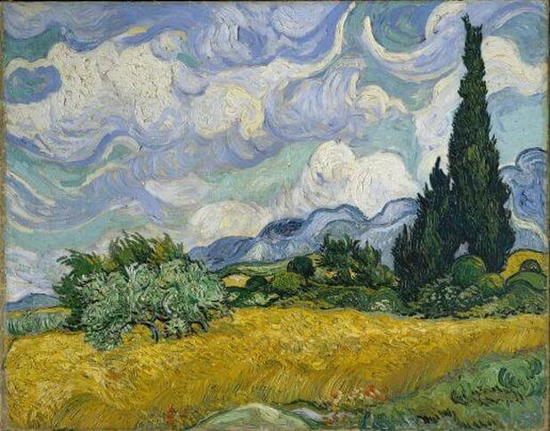 Wheat Field with Cypresses by Vincent van Gogh in the Metropolitan Museum of Art in New York