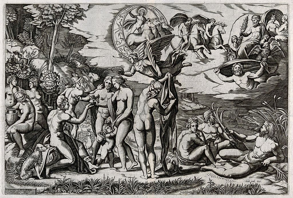 Engraving of Raphael's Judgment of Paris by Marcantonio Raimondi in the Metropolitan Museum of Art