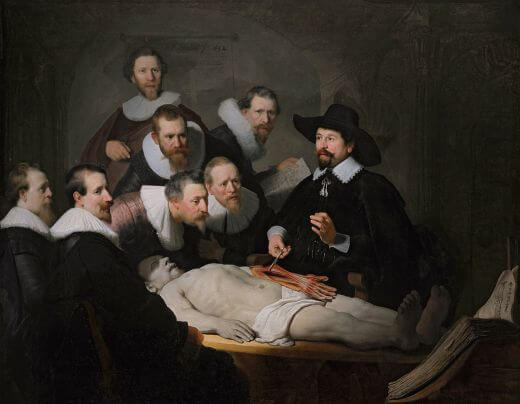 The Anatomy Lesson by Dr. Nicolaes Tulp by Rembrandt in the Mauritshuis in The Hague