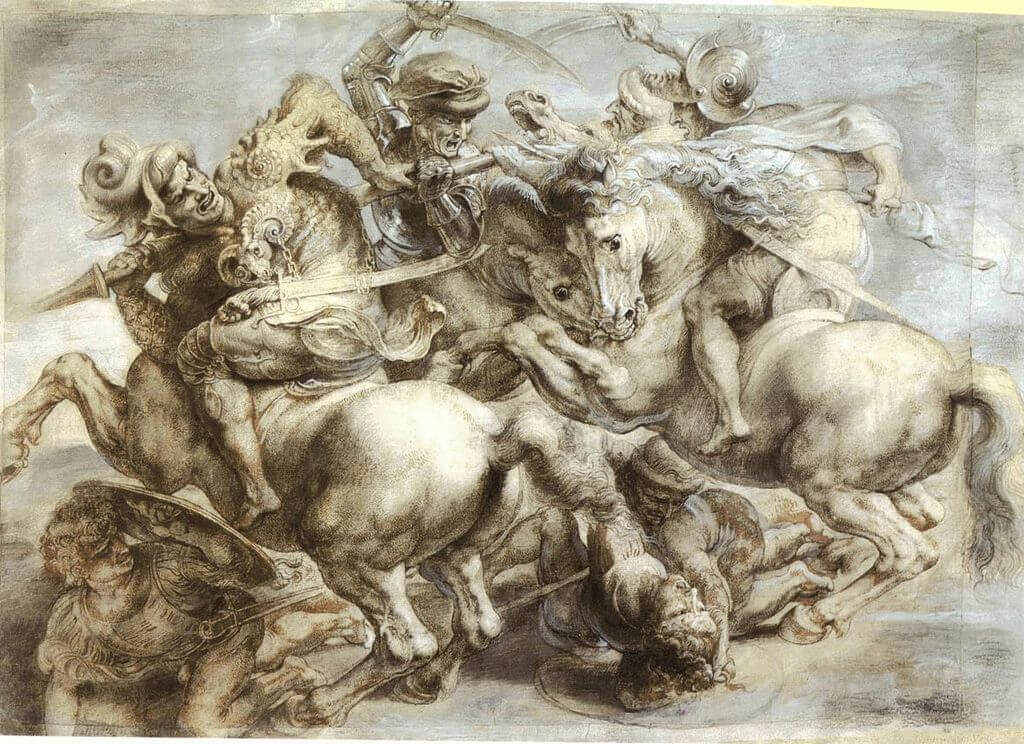 Copy of the Leonardo da Vinci's lost Battle of Anghiari by Peter Paul Rubens