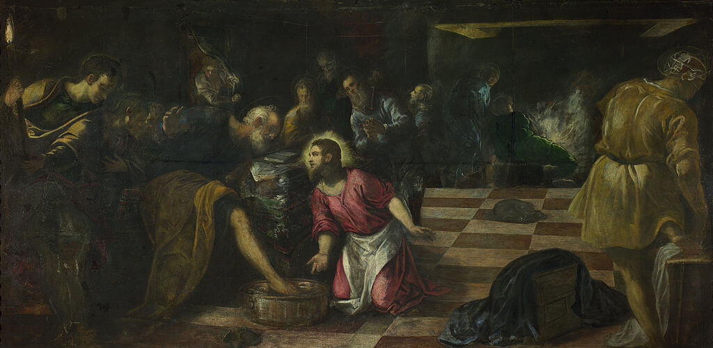 Christ Washing the Feet of the Disciples by Tintoretto in the National Gallery of London