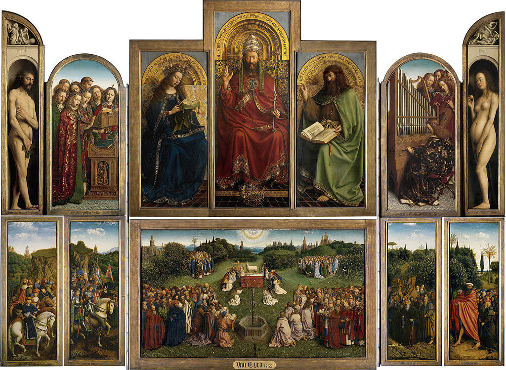 The Ghent Altarpiece by Jan van Eyck in the St. Bavo's Cathedral