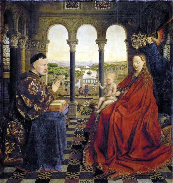 Madonna of Chancellor Rolin by Jan van Eyck in the Louvre in Paris