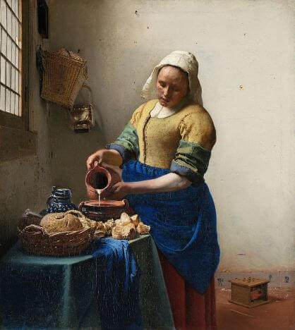 The Milkmaid by Johannes Vermeer in the Rijksmuseum in Amsterdam